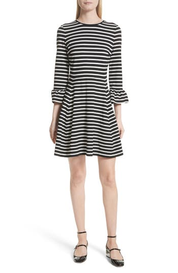 Kate Spade New York Stripe Fit-And-Flare Dress, Ivory
