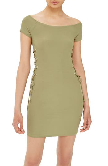 Topshop Lace-Up Side Body-Con Dress, US (fits like 10-12) - Green