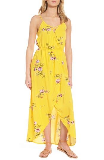 Love, Fire Strappy Surplice Maxi Dress, Yellow