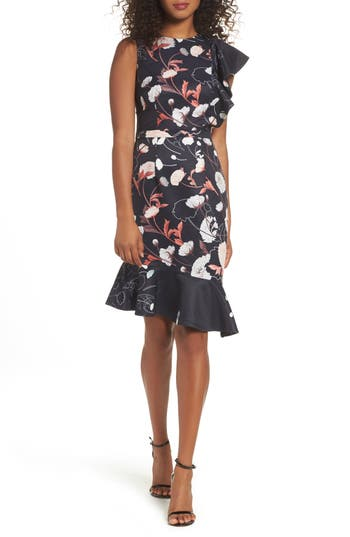 Cooper St Amaya Ruffle Sheath Dress, Black