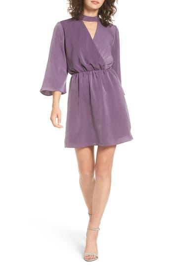 Everly Choker Neck Wrap Dress, Purple