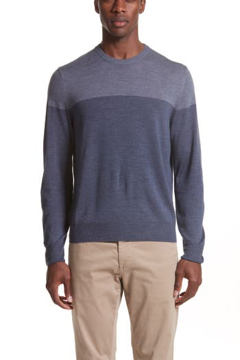 Canali Colorblock Wool Sweater, Blue