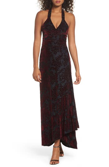 Dress The Population Erica Floral Velvet Wrap Gown, Purple