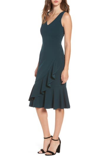 Women's Soprano Ruffle Hem Dress, Size X-Small - Green