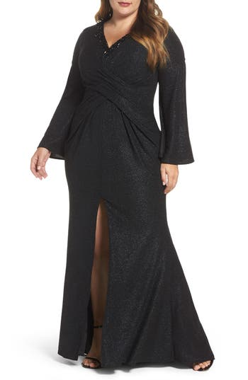 Plus Size MAC Duggal Bell Sleeve Embellished Gown, Black