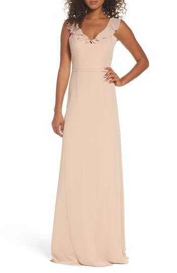 Monique Lhuillier Bridesmaids Keira Backless Chiffon Gown, Beige