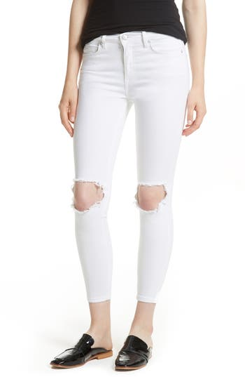 Free People High Rise Busted Knee Skinny Jeans, White
