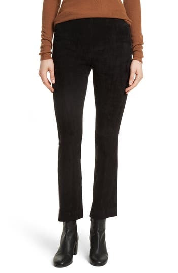 Vince Stretch Suede Crop Flare Pants, Black