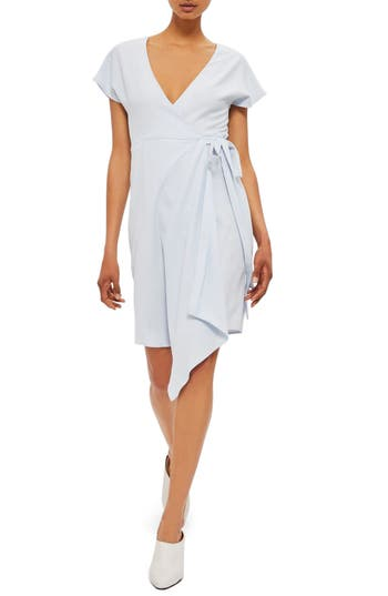 Women's Topshop Asymmetrical Wrap Dress, Size 2 US (fits like 0) - Blue