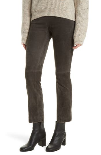Vince Stretch Suede Crop Flare Pants, Grey