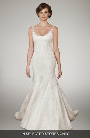 Matthew Christopher Camber Chantilly Lace Trumpet Gown