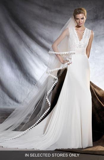 Pronovias Orobia V-Neck Gauze & Lace Sheath Gown