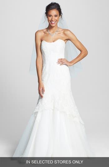 Bliss Monique Lhuillier Lace Overlay Tulle Trumpet Wedding Dress