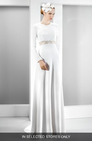 Jesus Peiro Illusion Lace Inset Long Sleeve Crepe Gown