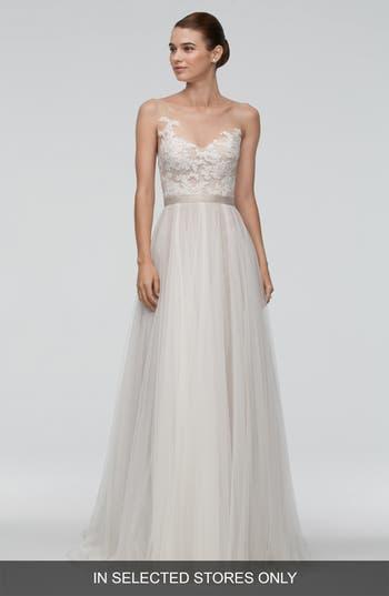 Women's Watters 'Azriel' Illusion Neckline Lace & Net A-Line Gown