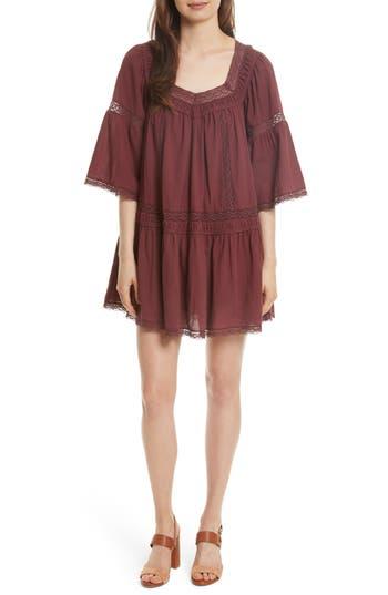 Women's La Vie Rebecca Taylor Lace Trim Gauze Babydoll Dress, Size Medium - Burgundy