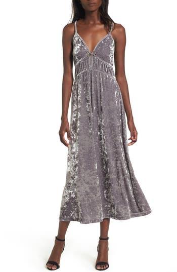 Women's Bp. Velour Midi Slipdress, Size Large - Grey