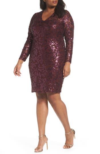 Plus Size Marina Sequin Lace Stretch Sheath Dress, Purple