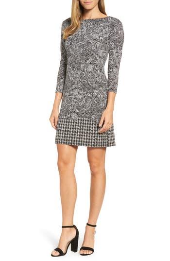Michael Michael Kors Paisley Houndstooth Print Shift Dress, Black