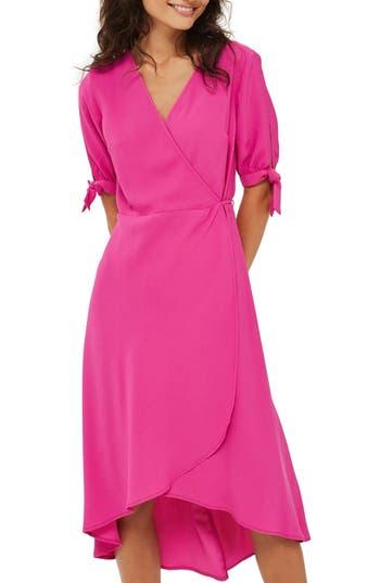 Topshop Dusty Emma Tie Sleeve Wrap Dress, US (fits like 0) - Pink