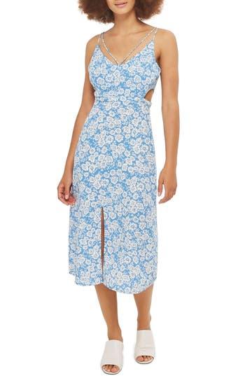 Topshop Cornflower Cutout Slipdress, US (fits like 0) - Blue