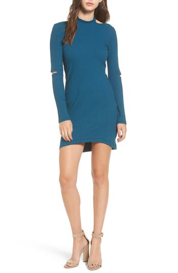 Elbow Cutout Dress, Blue/green