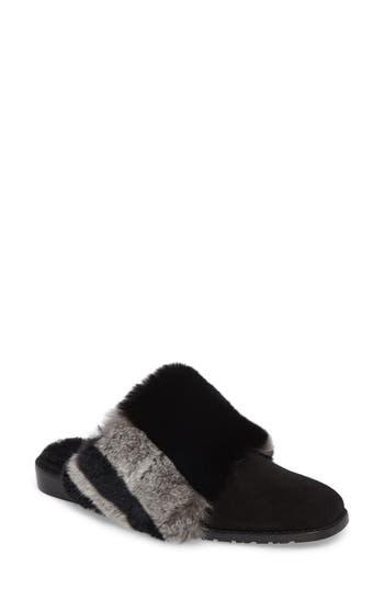 Stuart Weitzman Furgetit Genuine Rabbit Fur Loafer, Black