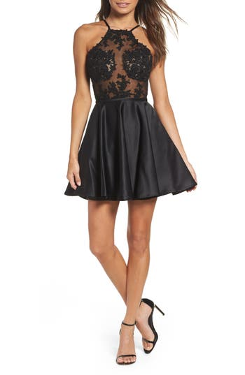 La Femme Embellished Illusion Bodice Skater Dress, Black