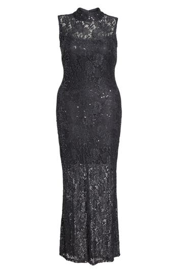 Plus Size Marina Illusion Lace Gown, Grey