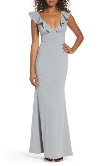 Lulus Perfect Opportunity Ruffle Mermaid Gown, Grey
