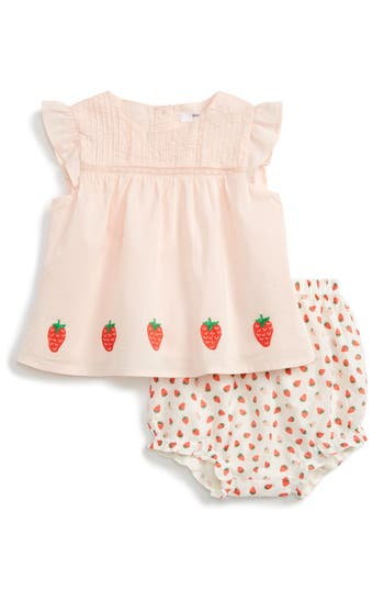 Infant Girl's Mini Boden Embroidered Flutter Sleeve Top & Ruffle Shorts
