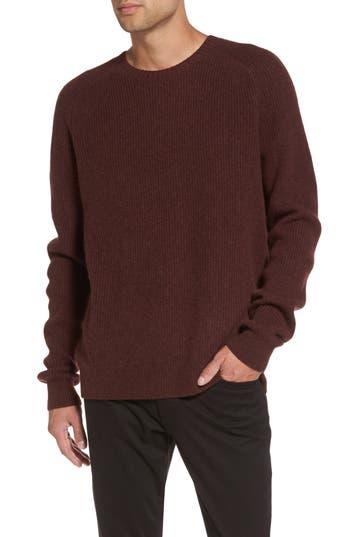 Vince Ribbed Wool & Cashmere Raglan Sweater, Burgundy
