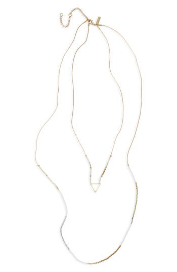 Women's Topshop Triangle Charm Beaded Layer Necklace