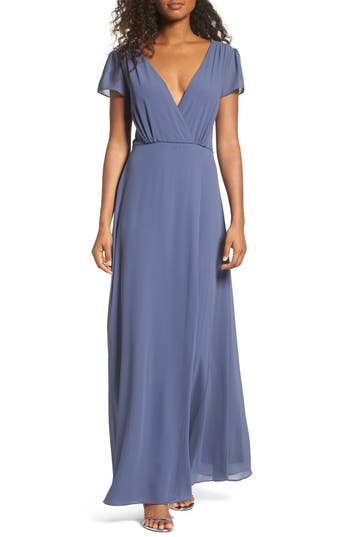 Lulus Lace-Up Back Chiffon Gown, Blue