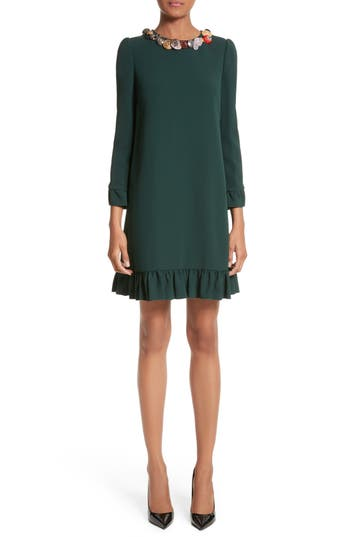 Dolce & gabbana Button Trim Ruffle Hem Dress, US / 42 IT - Green