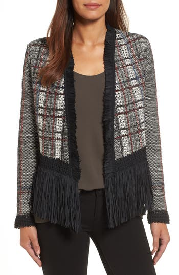 Women's Nic+Zoe Plaid Tweed Fringe Jacket