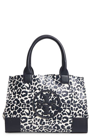 Tory Burch Mini Ella Leopard Print Nylon Tote - Blue