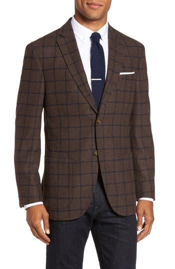 Jkt New York Trim Fit Windowpane Wool Blend Sport Coat Brown