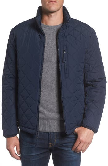 Men's Marc New York Faux Shearling Lined Quilted Jacket, Size Small - Blue