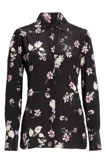 Women's Valentino Flowers Fall Silk Shirt, Size 8 - Black