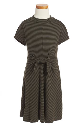 Girl's Soprano Tie Front Stripe Dress, Size S (8-10) - Green