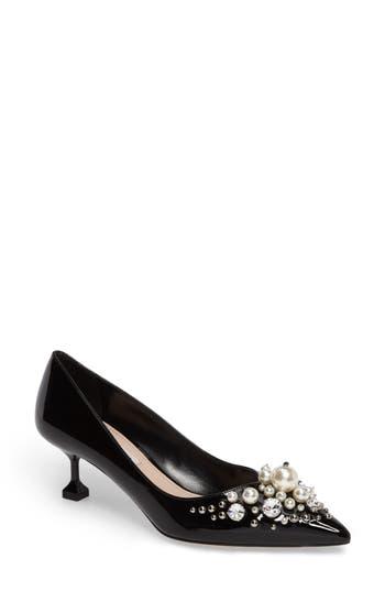 Miu Miu Embellished Pedestal Heel Pump - Black