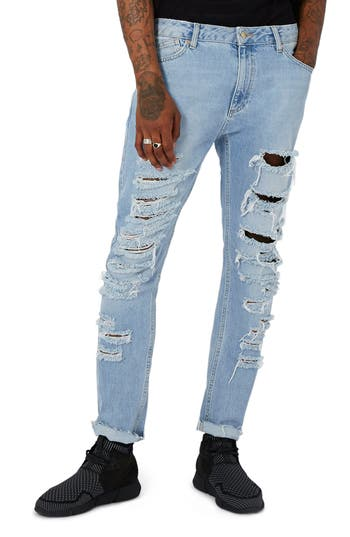 Topman Aaa Collection Shredded Skinny Jeans, Blue