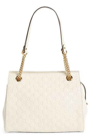 Gucci Signature Soft Leather Shoulder Bag - White
