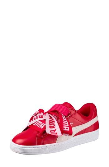 Puma Basket Heart Sneaker, Red