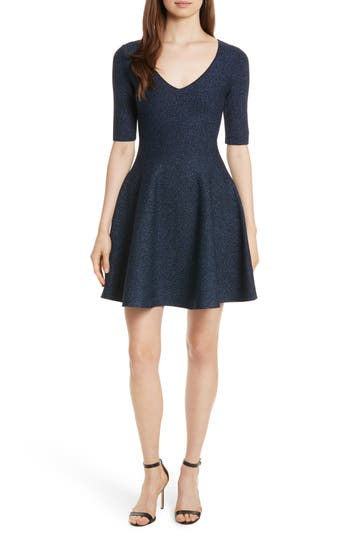 Milly Metallic Double Knit Fit & Flare Dress, Size Petite - Blue