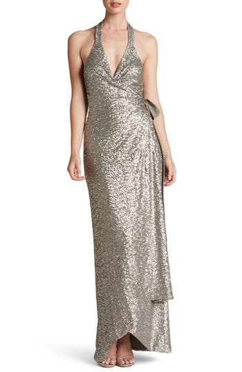 Dress The Population Giselle Sequin Wrap Gown, Metallic