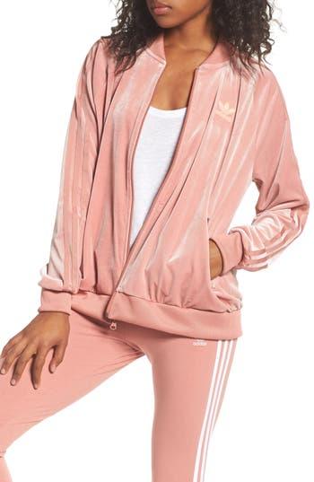 Adidas Originals Velvet Zip Sweatshirt, Pink