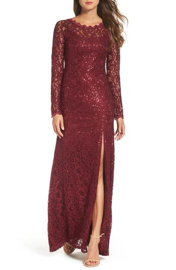 Sequin Hearts Sequin Lace Gown, Red
