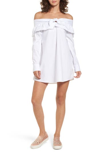 The Fifth Label Paper Planes Off The Shoulder Dress, White
